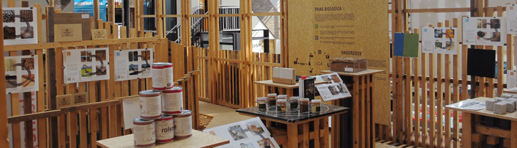 tentoonstelling van bio-based, circulaire en ecologische bouwmaterialen